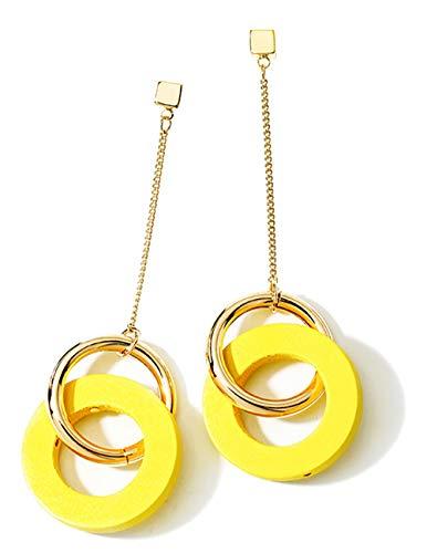 ANDANTINO Stainless Steel Earring- Women's Geometric Long Ear Hook-Tassel Earrings-Bar/Square/Triangle Asymmetrical Dangle Earring Gold Plated Ear Stud (Yellow Wooden Geometrical Ear Stud) - Geometric Yellow Earrings