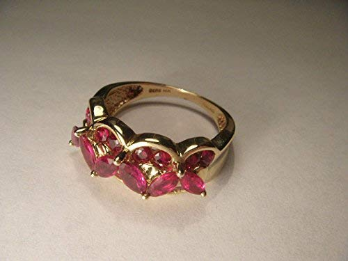 Wonderful Estate 14K Yellow Gold Mosaic Ruby Rubies Band Ring ()