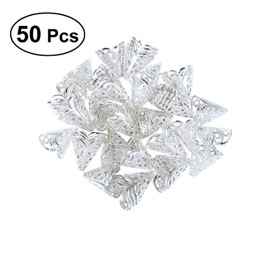 - SUPVOX 50 Pcs Metal Bead Caps Cone Flower Cap Shaped Bead Caps Filigree Beads Cap for Jewelry Making