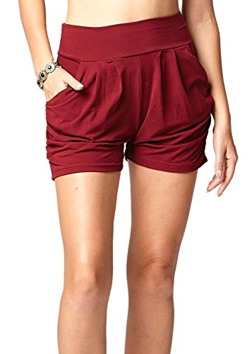 Premium Ultra Soft Harem High Waisted Shorts for Women with Pockets - Solid Burgundy - Small - Medium