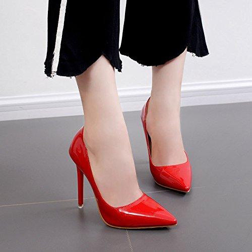 RUGAI-UE Objetos puntiagudos de tacón alto zapatos de mujer gules