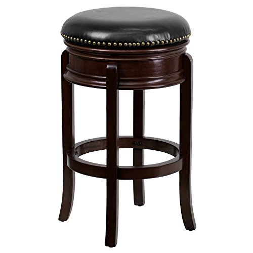 (29'' High Backless Cappuccino Wood Barstool with Carved Apron and Black Leather Swivel Seat)