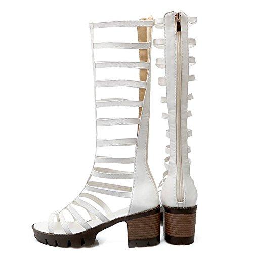 Cremallera Zapatos Gladiador Tacon Medio Sandalias Mujer Toe Ancho Blanco Tacon RAZAMAZA Peep Clasico Bottilons TZPnq