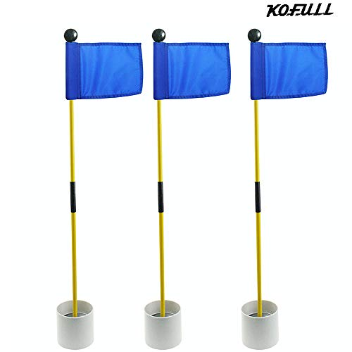 Kofull Detachable Backyard Practice Golf Hole Pole Cup Flag Stick, (3 Sets) Nylon Golf Putting Green Flagstick with Cup for Yard (3cups, 3flags and 3poles) (Blue)