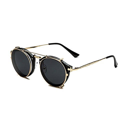Dollger Double Lens Flip up Clip On Sunglasses Steampunk Style and Round Black Glasses for - Round For Frames Sunglasses Clip-on