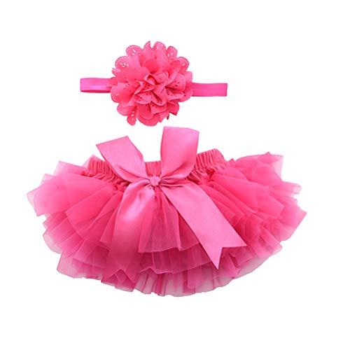 BESTOYARD Baby Rock Tutu kleding met bloemen hoofdband meisjes pasgeboren kostuum fotografie rekwisieten (roze)
