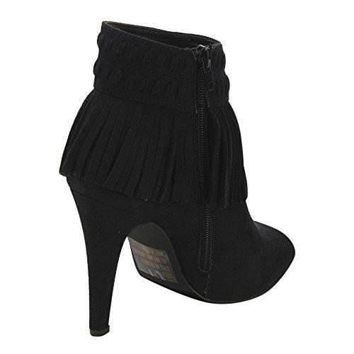 C Étiquette Ad65 Femmes Frange Fermeture À Glissière Latérale Bottines Stiletto Demi-taille Plus Petit Noir