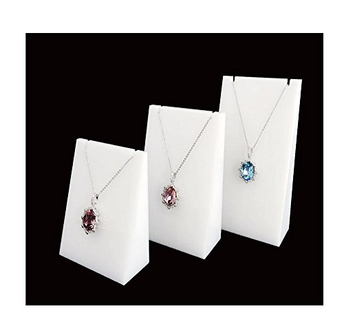 Necklace Display Stand Fine Exhibition Jewelry Holder Acrylic Store Gallery Trade Shows (Set of 3) (White)