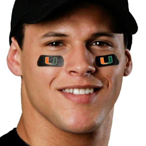 (24 Strips) Miami Hurricanes Eye Black Anti Glare Stickers, Great for Fans & Athletes on Game Day (Miami Hurricanes Tattoos)