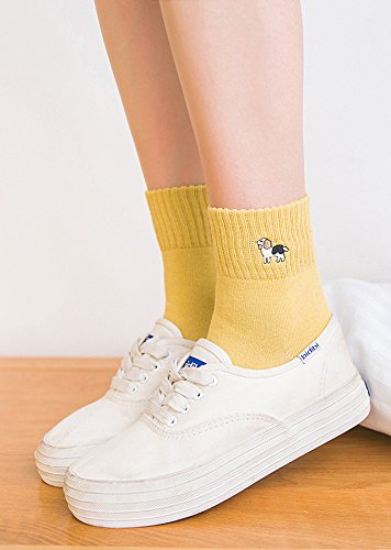 Generic Japanese embroidery socks women girls lady socks cute cartoon animal embroidery College Wind sweet candy color breathable sports socks