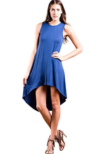 Modern Kiwi Forever Chic Solid Basic Sleeveless Tank Hi Low Dress Blue - Fashion Modern Chic