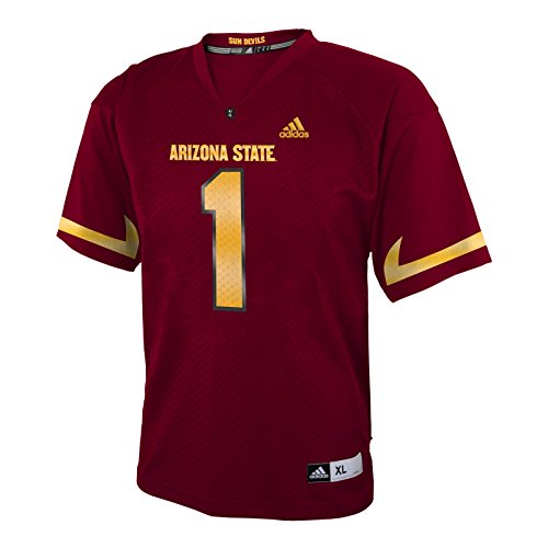 Arizona State Sun Devils NCAA Adidas Maroon Official Home #1 Replica Football Jersey For Boys (5/6) (Sun Applique Ncaa Devils)