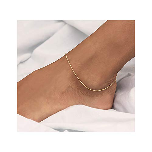 Mevecco Gold Dainty Satellite Chain Anklet,14K Gold Plated Boho Cute Tiny Beaded Minimalist Simple Foot Chain Ankle Bracelet for Women