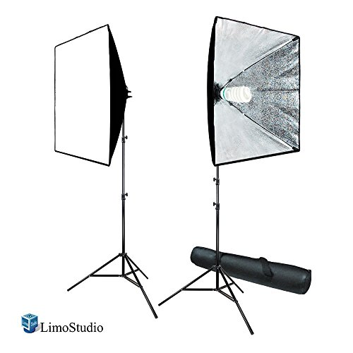 (Certified Refurbished) LimoStudio 700W Photo Video Studio Soft Box Lighting Kit, 24 x 24 Inch Dimension Softbox Light Reflector with Photo Bulb, Photography Studio, AGG814 by LimoStudio
