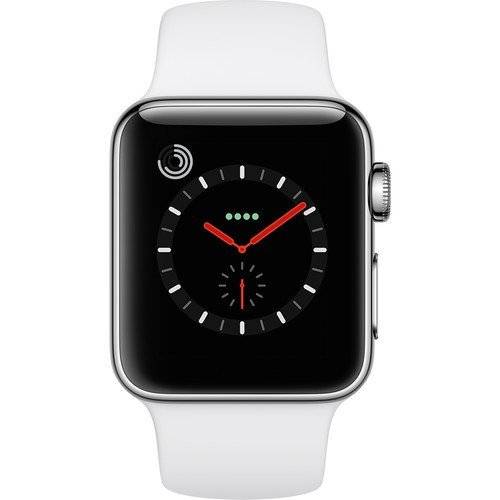 Apple Watch Series 3 (38MM, GPS + Cellular, Stainless Steel Case, White Sport Band)(Renewed)