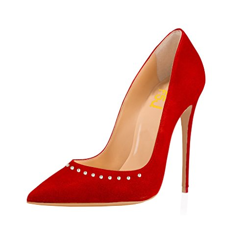 On Red Women Stilettos Studded Rivets 15 Size Toe with Heels suede FSJ Slip Pointed US High Sexy Shoes Pumps 4 PwWxF7