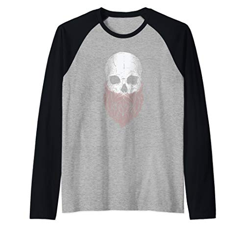 Bearded Skull - Halloween Costume Idea Raglan Baseball Tee -