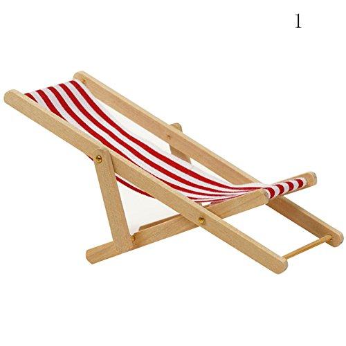Zeroyoyo 1:12 Miniature Dollhouse Furniture Wooden Outdoor Beach Chair Chaise Longue Toys Striped Deckchair Accessories (Bistro Chaise)