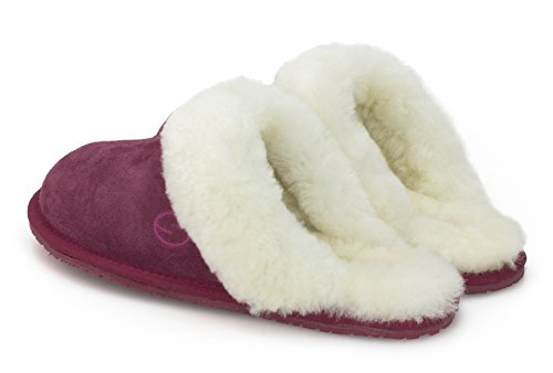 And Maroon Merino Mule Leather Suede Shephy Women Sheepskin Maya Upper With Cuff For Shearling Slippers 6w5q7UE5