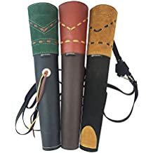 ArcheryMax Traditional High-grade Handmade Suede Back Arrow Pot Quiver,Three Fixed-back Archery Product for Hunting(19.7 Inches)