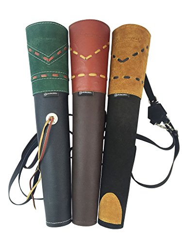 ArcheryMax Traditional High-grade Handmade Green Suede Back Arrow Pot Quiver,Three Fixed-back Archery Product for Hunting(19.7 Inches)