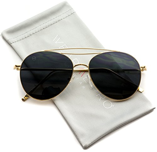 WearMe Pro - Modern Round Double Wire Aviator Sunglasses (Gold Frame / Black Lens, - Frame Wire Gold Glasses