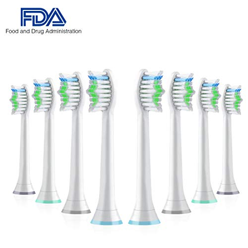 Standard Replacement Toothbrush Heads for Philips Sonicare e-Series HX-Series, Fits Sonicare Advance, Elite, Essence, Xtreme and More Snap-On Brush Handles, 8 Pack
