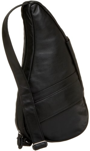 AmeriBag Small Classic Leather Healthy Back Bag, Black, Small Wide ()