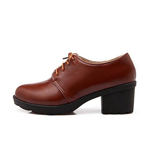 Balamasa Ladies Tacco Grosso Fasciatura Piattaforma Uretano Oxford-scarpe Marrone
