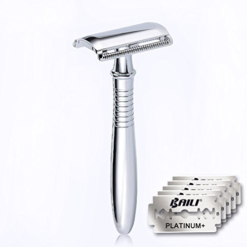 BAILI Wet Shaving Twin-bladed Safety Razor Retro Chrome Long Handle Men's Stainless Shaver with 5 Platinum+ American Blades, - American Hot Men