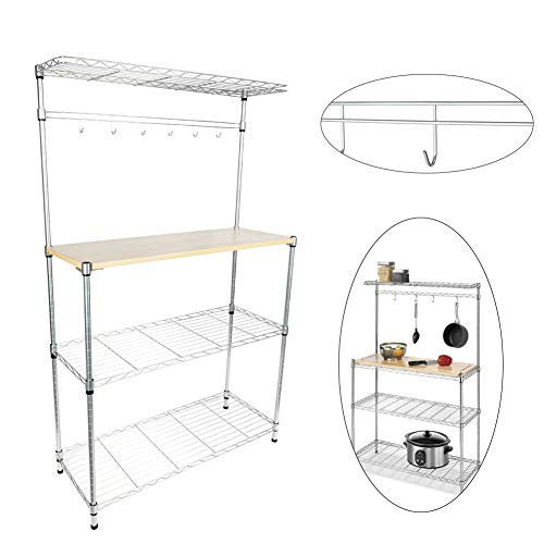 Bakers Rack,4-Tier Kitchen Corner Shelf Microwave Oven Cart for Dining Stand Storage Organizer Workstation with with MDF Board & 6pcs Wave Rod Silver Home Furniture (Free Standing Microwave Oven)