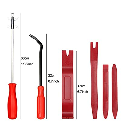 Trim Removal Tool and Tire Cleaning Hook,6Pcs Car Panel Door Audio Trim Pry Tool Kit, Auto Fastener Remover Tire Stones Removing Tool: Automotive