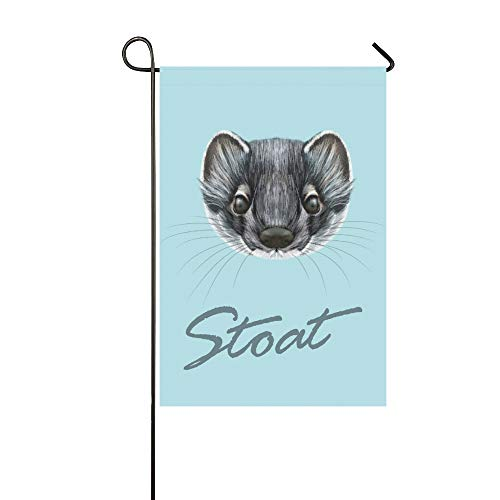 IIAKXNB Home Decorative Outdoor Double Sided Illustrated Portrait Stoat Cute Face Garden Flag,House Yard Flag,Garden Yard Decorations,Seasonal Welcome Outdoor Flag 12 X 18 Inch Spring Summer Gift