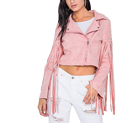 (Light So Shine Womens Pink Fringe Studded Faux Suede Moto Bike Jacket(NT170604) (Pink, Large))
