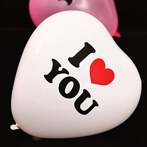 """BM AVESTA -Pack of 15-10"""" White Heart Shaped I Love You Printed Latex Balloons For Birthday, Wedding, Ceremony and Parties Decorations, White and Red Colors , Premium Quality"""
