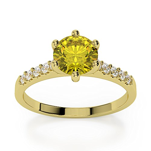 Or jaune 18 carats 1 CT G-H/VS sertie de diamants ronds Cut Saphir Jaune et bague de fiançailles Agdr-1208