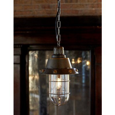 Industrial Hanging Pendant Light Fixture with Metal and Glass, 44'' Tall