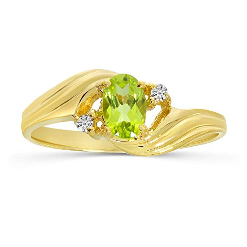 Peridot and Diamond Ring in 10K Yellow Gold