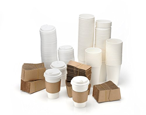 Your Essentials 100 Pack 12 oz Disposable Coffee Cups With Lids & Sleeves. Ideal For Travel, Offices, Office supplies. Recyclable To Go White Styrofoam Hot Drink Paper Coffee Cup Bulk Pack Case