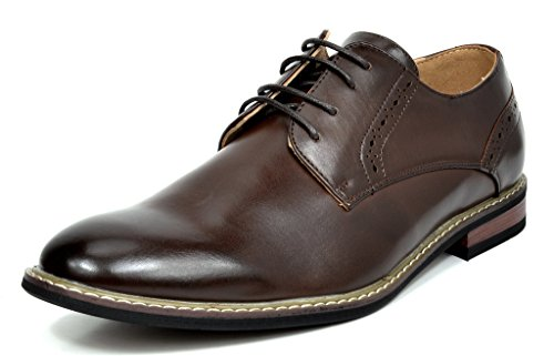 (Bruno Marc Men's Prince-16 Dark Brown Leather Lined Dress Oxfords Shoes - 9 M US)