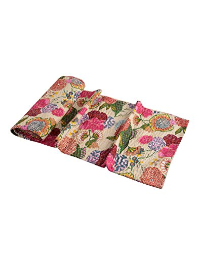 RAJRANG 100% Cotton Bedding Top, Indian Ethnic Floral Beige Bed Spread Sheet, Patchwork Vintage Throw Blanket, Reversible Quilt, Traditional Kantha Home Decor Flat Sheet for Double ()