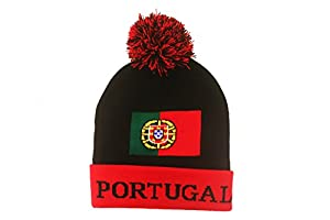 Portugal Red Black Country FlagToque Hat With Pom Pom .. New