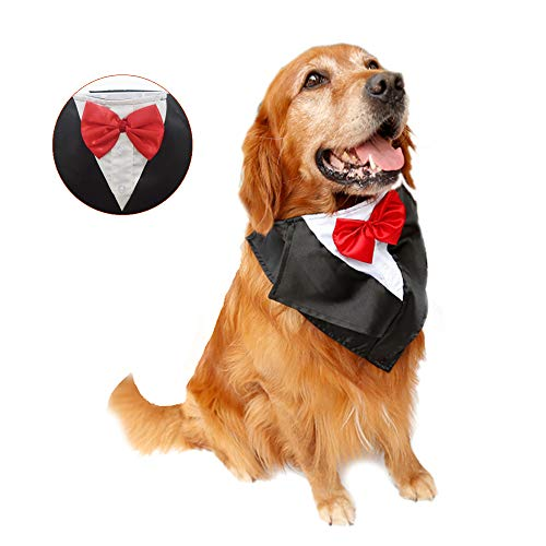 DogLemi Dogs Bowtie Tuxedo Neckwear Holloween Scarf Pet Dress-up Costumes Cosplay Accessories (Red) ()