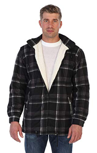 - Gioberti Mens Sherpa Lined Flannel Jacket with Removable Hood, Charcoal/White, XL