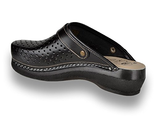 Donna Leon Sabot Zoccoli nero Scarpe Pantofole PU101 Pelle pxpraY