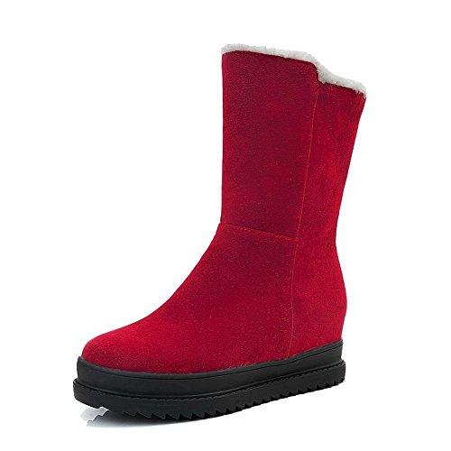 AgooLar Women's Kitten-Heels Round-Toe Solid Pull-On Boots Red jCB8RJabj
