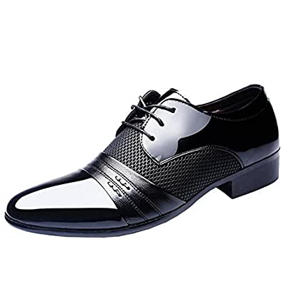 E Support Men's Patent Leather Tuxedo Dress Business Shoes Lace up Oxfords Black