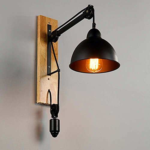 HOMEE Wall lamp- loft american retro creative industrial lifting pulley iron wall lamp aisle bedside restaurant living room balcony wall lamp --wall lighting decorations by HOMEE
