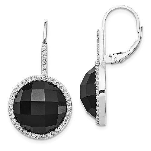 925 Sterling Silver Rhod Plated Cubic Zirconia Cz Black Onyx Checkerboard Cut Leverback Earrings Lever Back Drop Dangle Gemstone Fine Jewelry Gifts For Women For Her