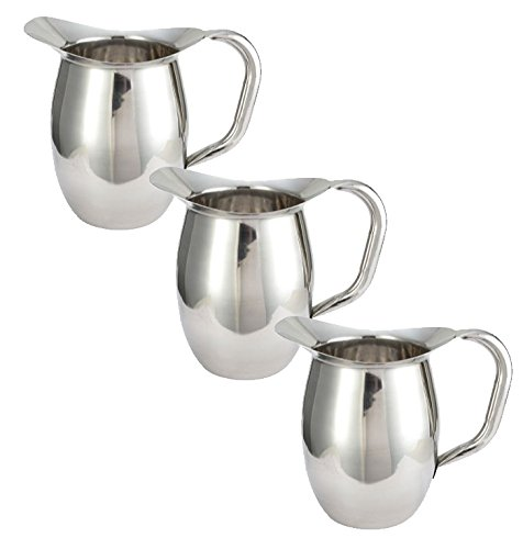Tiger Chef Deluxe Bell Pitcher - 3 Qt. Stainless Steel Bell Pitcher, Catering Pitchers, 96 oz. (3)